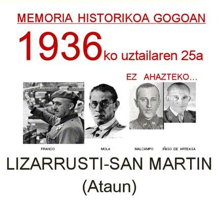 1936ko uztailaren 25ean nafar erreketeak Gipuzkoan sartu ziren Ataundik...